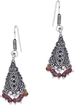 Supriya Red Pearls & White Metal Jhumki Earring