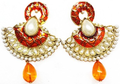 SB Fashions Orange Brass Drop Earring