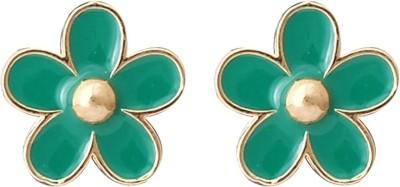 Super Drool Green Enamel Alloy Stud Earring