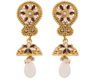 Rajwada Arts White And Red Stones Floral Pearl Brass Jhumki Earring