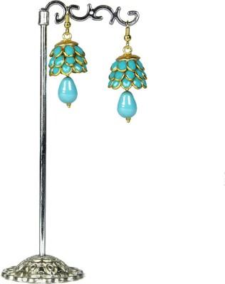 Artisan Sky Blue Pacchi Kamal Metal Jhumki Earring