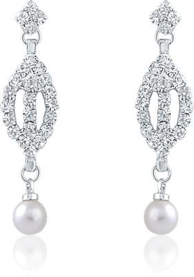Oviya Enticing Bloom Crystal, Pearl Alloy, Brass Dangle Earring
