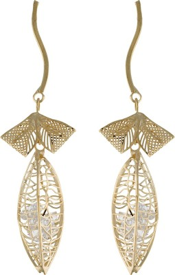 One Stop Fashion Graceful And Glamorous Gold Colour Leaf Shaped Long Alloy Drop Earring