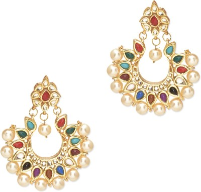 Fashionography The Navratan Kundan Earrings Alloy Chandbali Earring