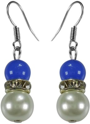 Crystals & Beads Sapphire Blue Colour Round Moonball & White Pearl Bead with Diamond Spacer Acrylic, Glass, Crystal Dangle Earring