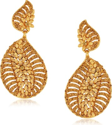 Spargz Floral Design Studded with LCT Color Stone Alloy Drop Earring