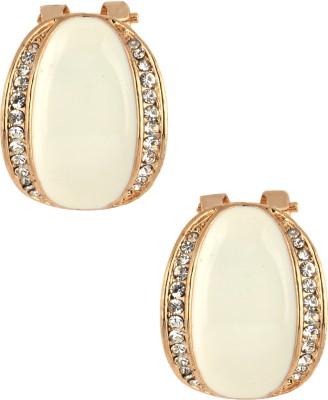 Sparkling Trinkets Glossy White Metal Stud Earring