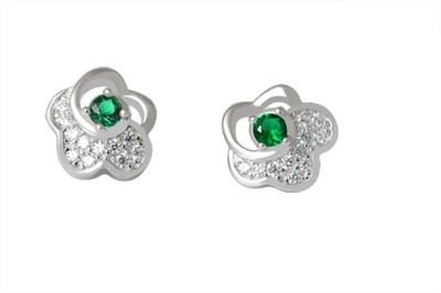 TUAN Flower shaped Diamond, Cubic Zirconia, Emerald Sterling Silver Stud Earring