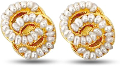 Surat Diamond Lovers Knot Pearl Metal Stud Earring