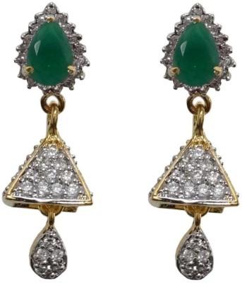 Sheetal Jewellery Trillion Green Cubic Zirconia Brass, Alloy Drop Earring