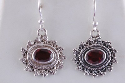 Tiwari Garnet Sterling Silver Dangle Earring