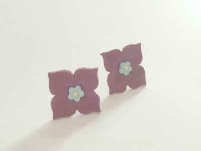 Craffiti Flower Clay Ceramic Stud Earring