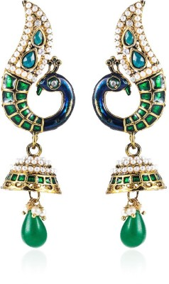 Colors of Sin Green curved peacock with green pearl Alloy Dangle Earring, Drop Earring