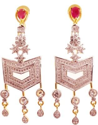 Ojas Jewels Divaalious Ruby Zircon Alloy Chandelier Earring