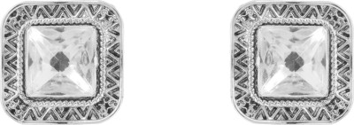Donna White Square Crystal Metal Stud Earring