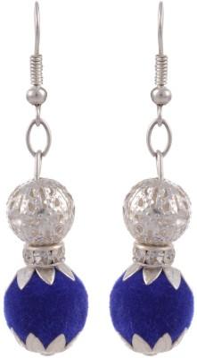 Heartzy Silver Plated Designer valvet ball Alloy Dangle Earring