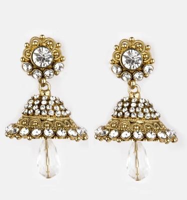 Bridesmaid Cubic Zirconia, Crystal Copper Jhumki Earring