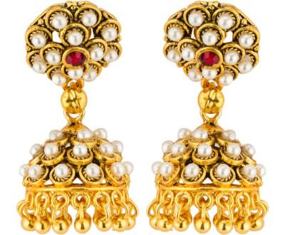 CTW Bollywood Ethnic With Polki Beads Brass Jhumki Earring