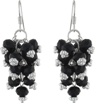 One Stop Fashion Smart Silver And Black Colour Beads Alloy Dangle Earring