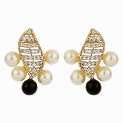 Dilan Jewels Black & White Tops. Zircon, Beads Alloy Stud Earring