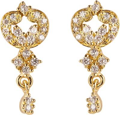 6LOTUS CUTE Cubic Zirconia Brass Drop Earring