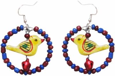 Juhi Malhotra Yellow Bird In Ring Wood Drop Earring