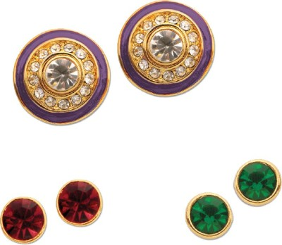 Sparkle Street Colour Drops Studs Set Alloy, Enamel, Crystal Earring Set