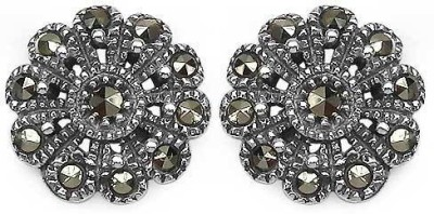 Johareez Fashion Floral Cubic Zirconia Sterling Silver Stud Earring