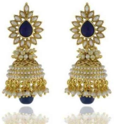 Happyshoppi Flower Shape Pearl Brass, Copper Jhumki Earring