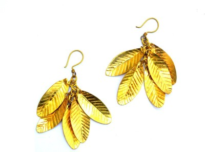 Art Godaam Dhokra Leaf Brass Dangle Earring