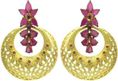 Peora Floral Cutout Brass Chandbali Earring