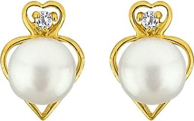 JPearls Heart Mother of Pearl Alloy Stud Earring