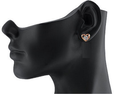 YUVEN New Fashion Gold PlatedDesign With CZ Zironia Heart Cubic Zirconia Alloy, Brass Stud Earring