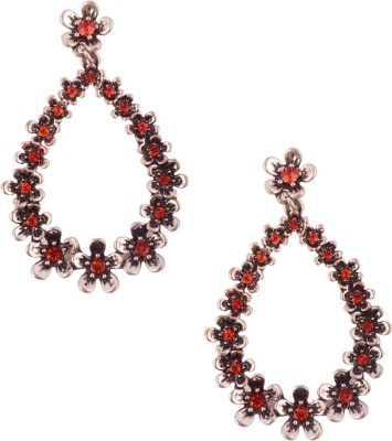 Trinketbag Red flower bud glass Alloy, Glass Drop Earring