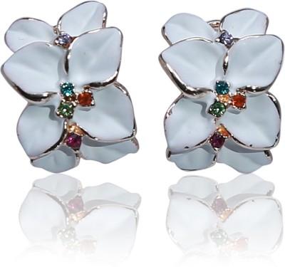 Glam Attires Flower Rhinestone Crystal Alloy Stud Earring