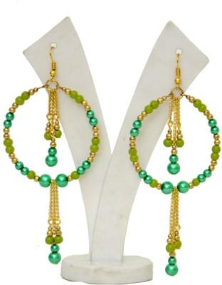 Galz4ever Green Pearl Drop Earring Metal Dangle Earring