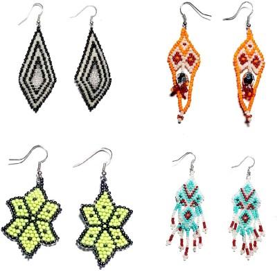 Laron Handicrafts WOVEN BEADED Glass Dangle Earring