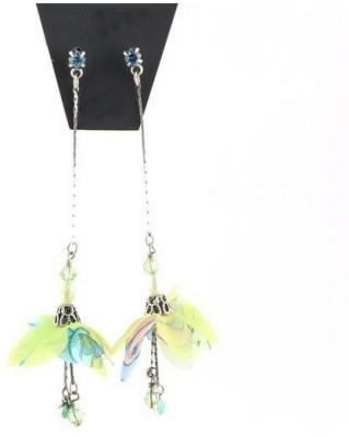 Oomph Silver & Green Crystal & Tassel Fashion Jewellery for Women, Girls & Ladies Metal Dangle Earring
