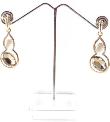 Divitha Allure golden elegant drops with monalisa stone. Alloy Drop Earring