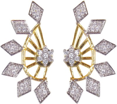Muchmore Sparkling Flower Design Cubic Zirconia Alloy Cuff Earring