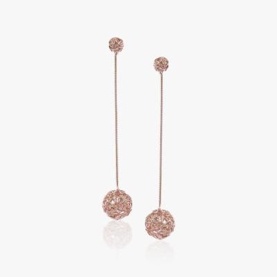 Shamoda Fashionable Rose Gold Mesh Ball Metal Dangle Earring