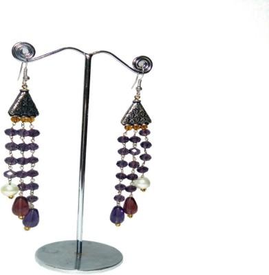 Shalini jewlles long beded chain Beads Metal Dangle Earring