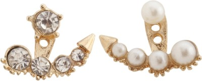 RIANZ New Designer Pearl and Australian Crystals Alloy, Crystal Stud Earring