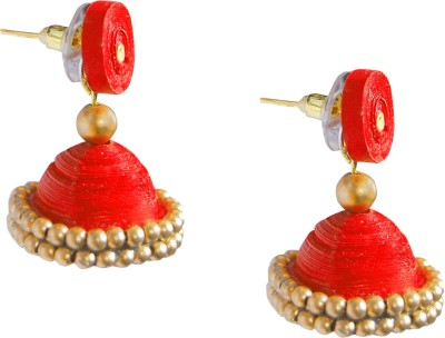 Scion Red Royal Quilling Paper Jhumki Earring