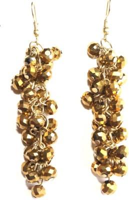 Sansar India Golden Crystal Beaded Drop Alloy Dangle Earring