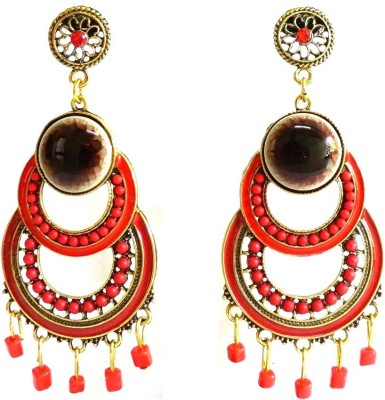 Threadstone Red Ring And Beads Zinc Drop Earring