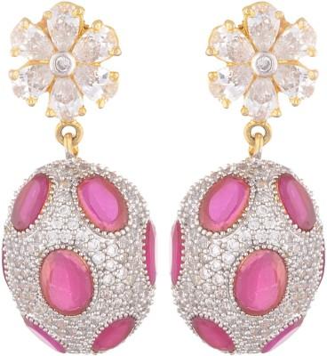 SB Fashions Red diamond earring Brass Jhumki Earring