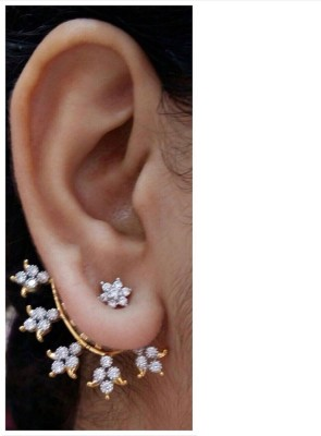 Bandish Gold toned American Diamond Cubic Zirconia Alloy Cuff Earring