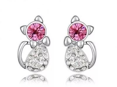 Yiwu Cat Crystal Alloy Stud Earring