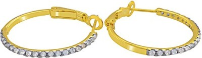 The Fine World Embedded With Sparkling Stones Zircon Metal Hoop Earring